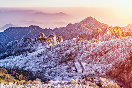 Morning view of the peaks of Huangshan National park. China. Stock Photo