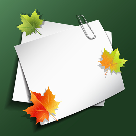 Paper sheets with paper clip and maple autumn leaves on green background. Vector illustration eps 10.