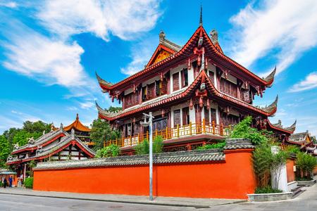 화창한 날 시간에 Wenshu 수도원의 외관입니다. 청두. 중국. 스톡 콘텐츠