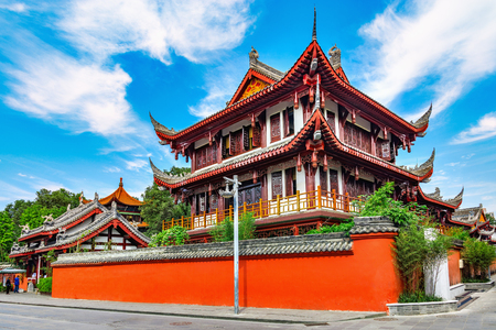 Exterior of Wenshu monastery at sunny day time. Chengdu. China.