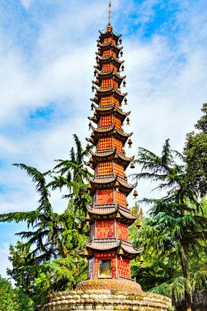 Chengdu, China - October 29, 2016: Thousand Buddha Pagoda (Qianfo Ta) at Wenshu monastery. Thousand Buddha Pagodas is a Buddhist pagoda and has 22 meters high.