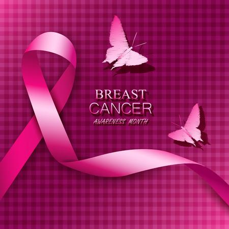 Borstkanker voorlichting roze linten. Vector illustratie.