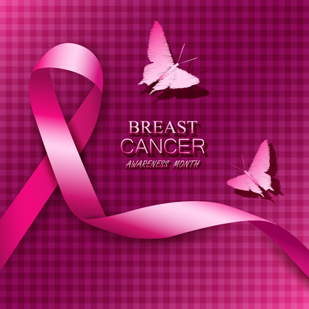 Breast cancer awareness pink ribbons. Vector illustration. Ilustrace
