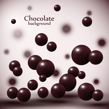 Dark chocolate balls on abstract background. Vector illustration.