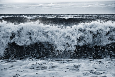 Wave view at the stormy evening time. Stock Photo