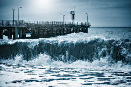 surrealistic: Fantastic sea view at stormy night time. Stock Photo