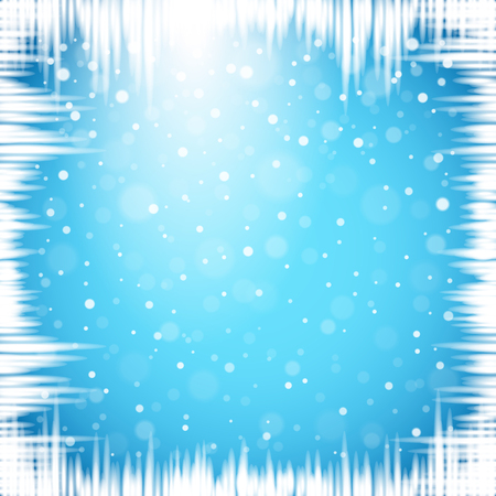 Christmas snowflakes and icicles on blue background. Vector illustration.