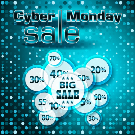 Cyber Monday sale colorful background, vector illustration.