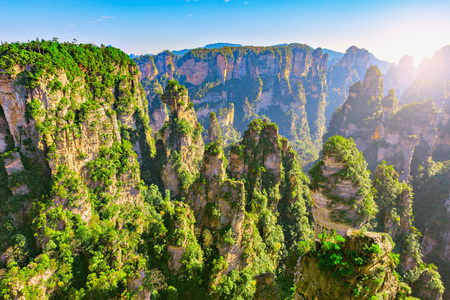 Colorful cliffs in Zhangjiajie Forest Park at sunset time. China Standard-Bild