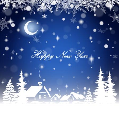 New year village landscape on the postcard background. Vector illustration Illustration