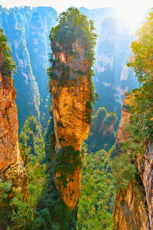 Natural quartz sandstone pillar the Avatar Hallelujah Mountain is 1,080-metre (3,540 ft) located in the Zhangjiajie National Forest Park, in the Wulingyuan Area, in northwestern Hunan Province, China Stock Photo