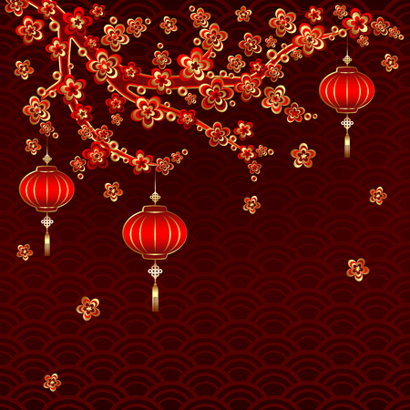 Traditional Chinese New Year Red Lantern on colorful background. Illustration