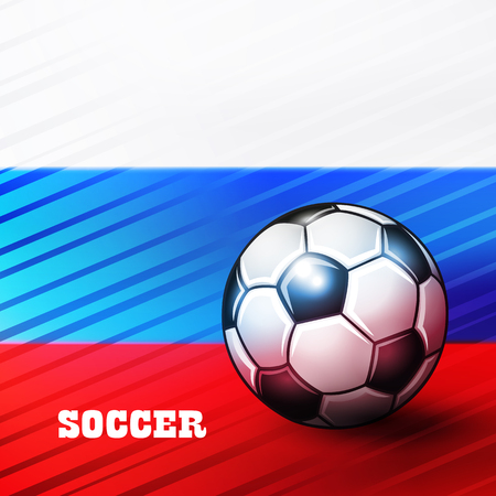 Soccer ball on russian flag background. Vector illustration.