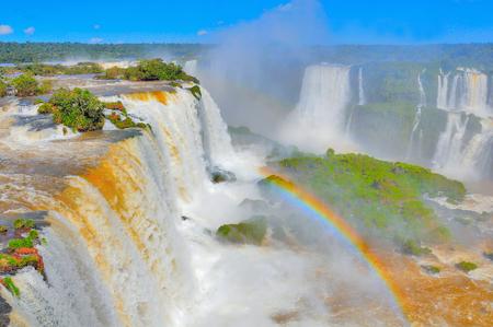 Fantastic view of Iguazu falls. Argentina and Brazil.