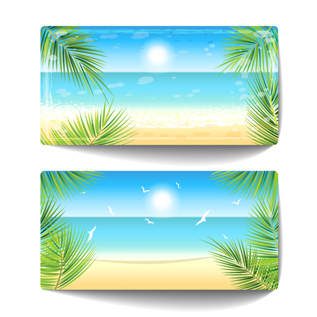 Two banners of sand beach at sunset time. Vector illustration.