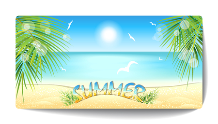 Banner of sand beach at sunset time. Vector illustration.