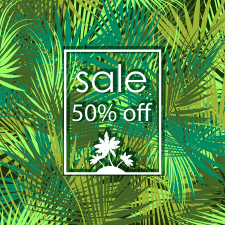 Sale 50 percent off on green palm tree branches background. Vector illustration.