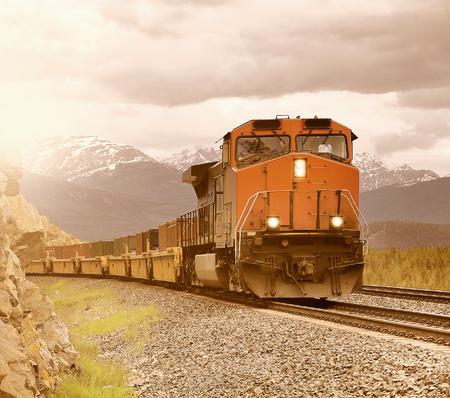 Long freight train. Stock Photo