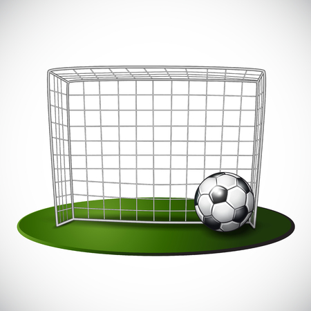 Ball on soccer goalpost with net background. Vector illustration. Reklamní fotografie - 105126794
