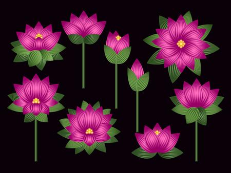 Set of lotus flowers Illustration