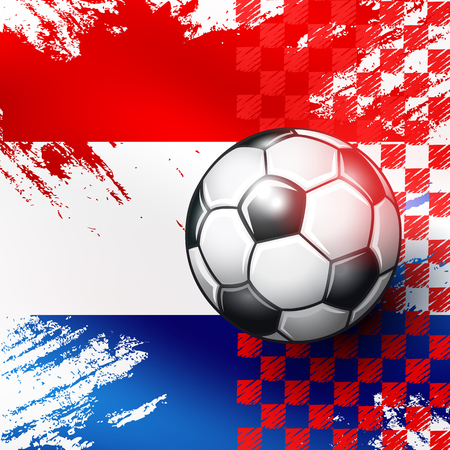 Soccer ball on Croatia flag abstract backgrounds. Vector illustration.