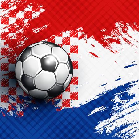 Soccer ball on Croatia flag abstract backgrounds. Vector illustration.