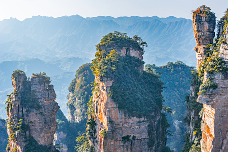 Colorful cliffs in Zhangjiajie Forest Park at sunset. China. Stok Fotoğraf