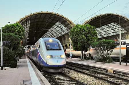 Nice, France - May 23, 2012: Highspeed train TGV stands by the platform before departure. Publikacyjne