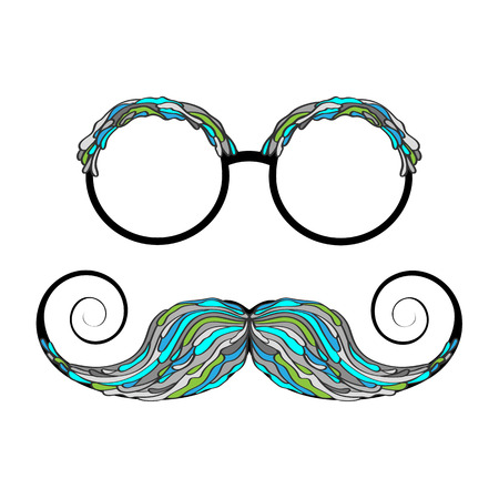 Man glass and mustache colorful image. Vector illustration.