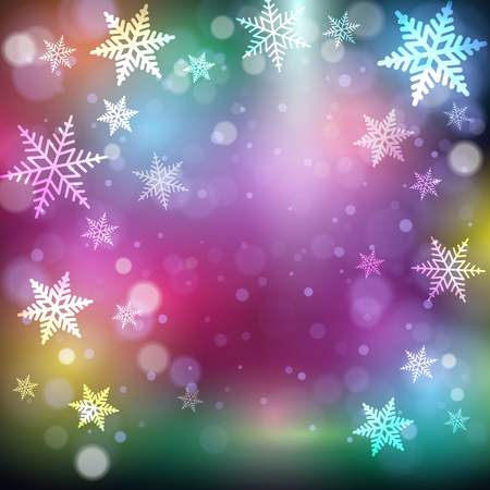 Christmas snowflakes on colorful background. Vector illustration. Vector Illustration