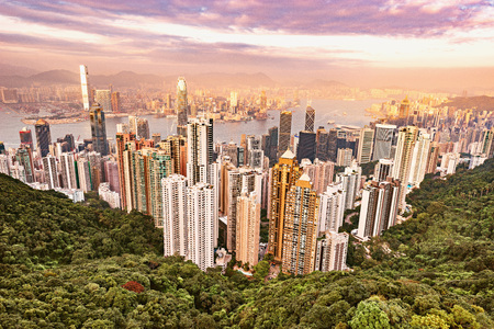 View of the downtown of Hong Kong from Victoria Peak.