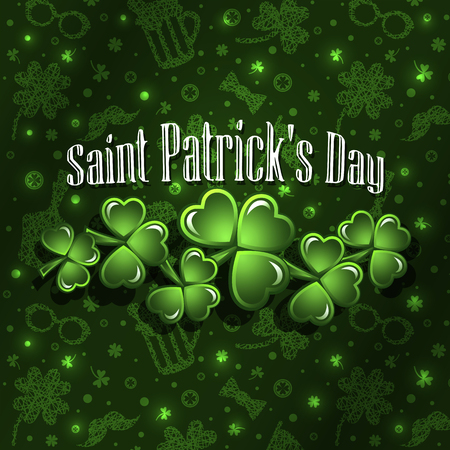 St Patricks Day greeting card background. Vector illustration. Illustration