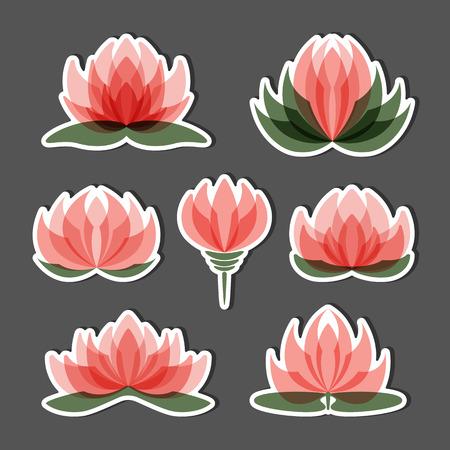 Set of lotus flowers isolated on black background.