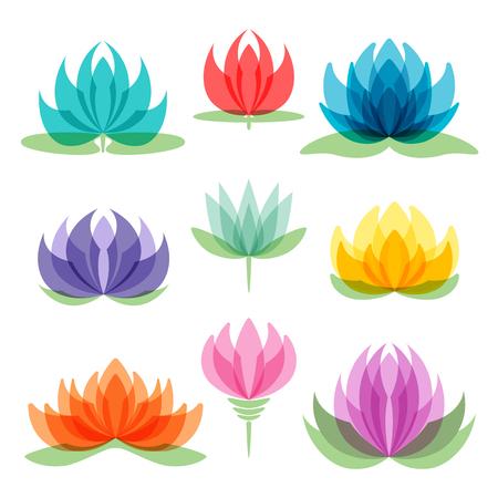 Set of lotus flowers isolated on white background.
