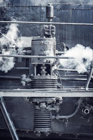Steam mechanism of the old retro locomotive.