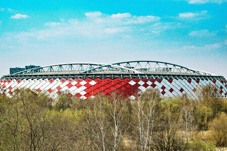 Moscow, Russia - April 21, 2019: View of Otkrytie Arena stadium. Home stadium of Spartak football team. Editorial