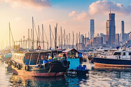 Evening view of the harbor by the city center. Hong Kong. Stok Fotoğraf