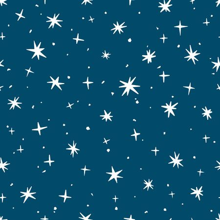 Christmas snowflakes on a blue background. Seamless background. Vector illustration. Banco de Imagens