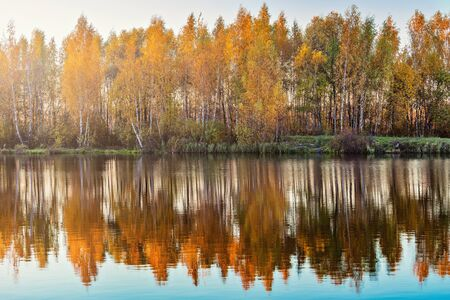 Reflection of the autumn mountain forest in the lake