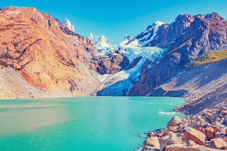 View of the glacier near Fitz Roy mountain. Los Glaciares National park. Argentina.