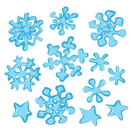 Christmas snowflakes on the white background. Vector illustration. Vecteurs