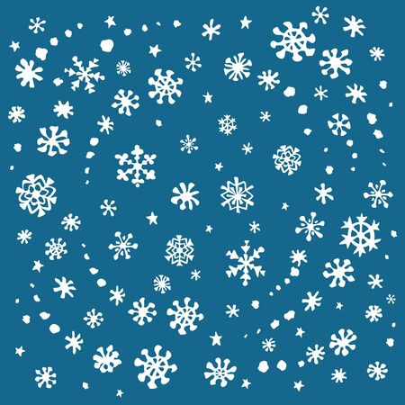 Christmas snowflakes abstract postcard background. Vector illustration.