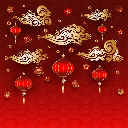 Traditional Chinese New Year Red Lanterns. Ilustrace