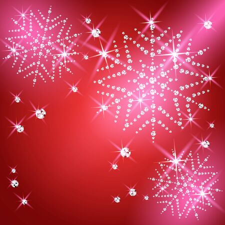 Christmas snowflakes on red background. Vector illustration. Vector Illustration