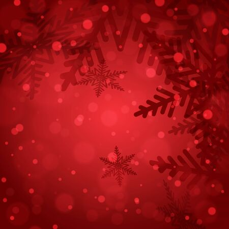 Christmas snowflakes on red background. Vector illustration.