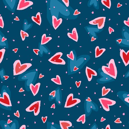 Heart shapes on colorful seamless background. Ilustrace