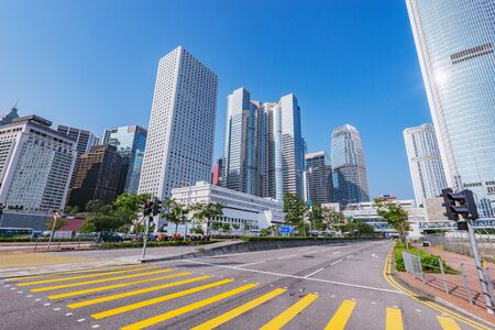 Day view of the city streets. Central District. Hong Kong.