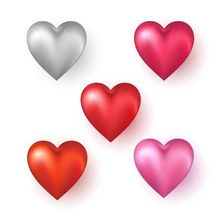 Forme di cuore su sfondo bianco. Illustrazione vettoriale.