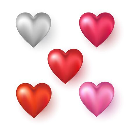 Heart shapes on white background. Vector illustration.