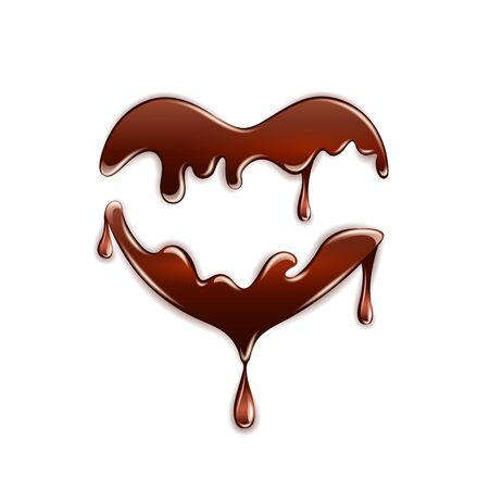 Dark chocolate in the heart shape on white background. Vector illustration.